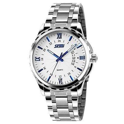 Relógio Skmei Analógico 9069 Prata e Azul