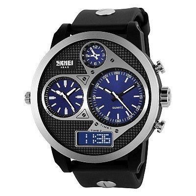 Relógio Masculino Skmei Anadigi  1033 Preto e Azul