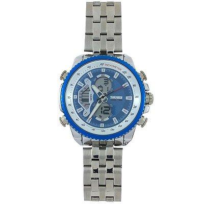 Relógio Masculino Skmei Anadigi 0993 Prata e Azul