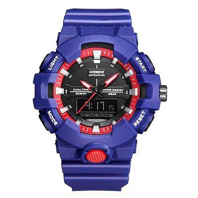 Relógio Masculino Weide AnaDigi WA3J8006 - Azul e Vermelho