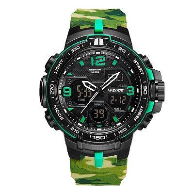 Relógio Masculino Weide AnaDigi WA3J8005 - Verde Camuflado