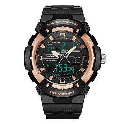 Relógio Masculino Weide AnaDigi WA3J8008 - Preto e Rosê