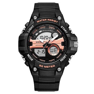Relógio Masculino Weide AnaDigi WA3J8010 - Preto e Rosê