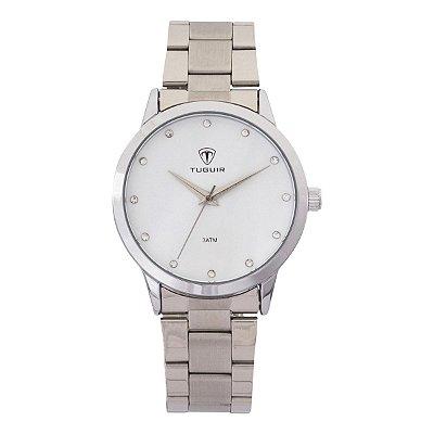 Relógio Feminino Tuguir Analógico TG114 - Prata e Branco