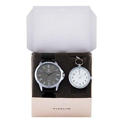 Relógio Masculino Tuguir Analógico TG100 - Preto e Prata