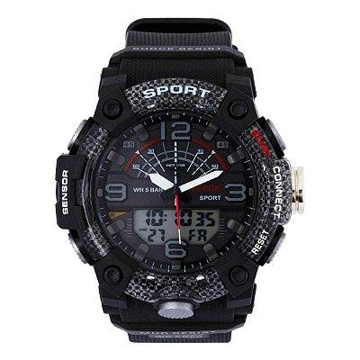 Relógio Masculino Weide AnaDigi WA3J9001 - Preto e Cinza