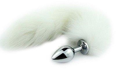 Plug Anal em Metal com Cauda Branca 7 x 2,8 cm - PL019P