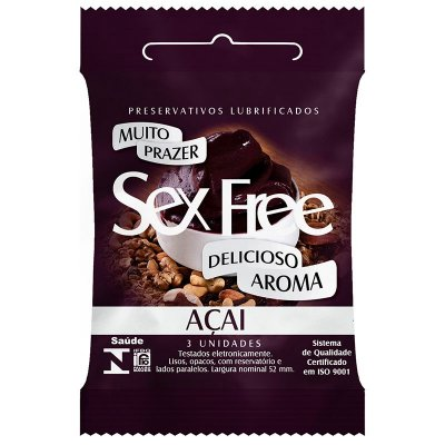 Preservativo Lubrificado Sex Free Açai com 3 Unidades - SEX008