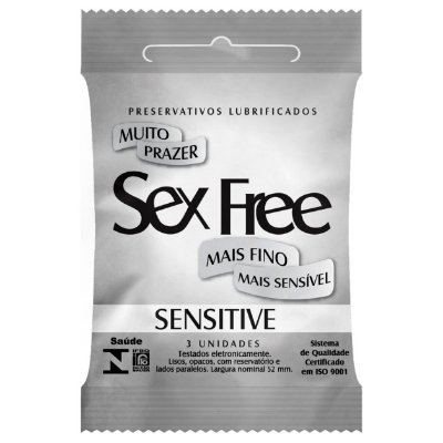 Preservativo Lubrificado Sex Free Sensitive com 3 Unidades - SEX012