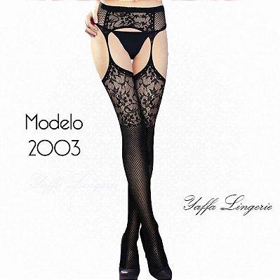 Meia Calça Arrastão Cinta Liga Yaffa - Y2003