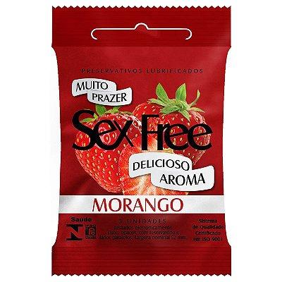 Preservativo Lubrificado Sex Free Morango com 3 unidades - SEX005