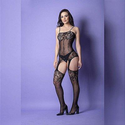 Macacão sensual com transparências por todo seu corpo, confeccionado em arrastão, renda e strass - Y2068