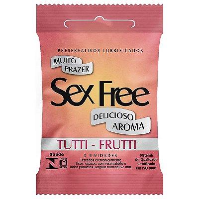 Preservativo Lubrificado Sex Free - Aroma Tutti - Frutti com 3 unidades - SEX006