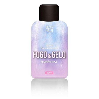 Gel para massagem beijável FOGO E GELO - Algodão Doce - ( Esquenta / Esfria) - 38ml - CO433