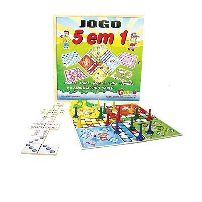 JOGO Cinco em Um ( Dama, Dominó, Jogo de trilha, Jogo da Velha, Ludo) -  RR002013