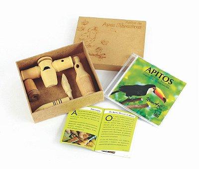 Apitos de Aves  - Caixa em MDF  05 apitos + Tampa + CD -  RR003214