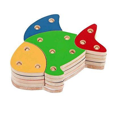 Brinquedo Pedagógico - Troque Monte e Encaixe as Cores - Peixe - RR002020
