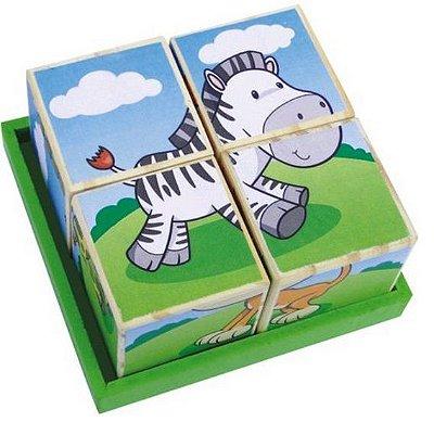 Quebra Cabeças de Animais Cubos - Educativo e Pedagógico - RR003018