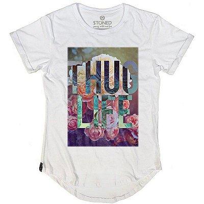 Camiseta Longline Thug Life Flowers