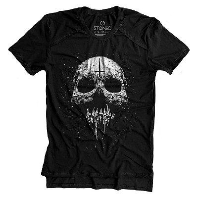 Camiseta Longline Gold Melting Skull