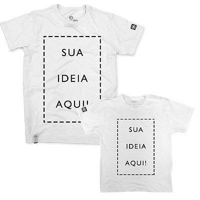 Kit - Camiseta Confort Personalizada + Camiseta Infantil Personalizada Branco