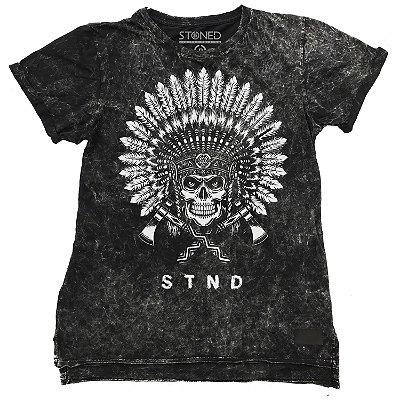 Camiseta Longline Estonada Indian Skull