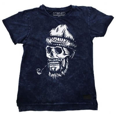 Camiseta Longline Estonada Old Skull