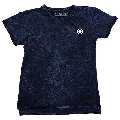 Camiseta Longline Estonada Basic Azul