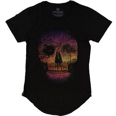 Camiseta Longline Landscape Skull