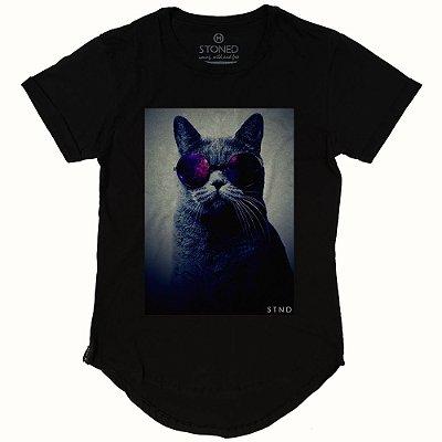 Camiseta Longline Psicodelic Cat