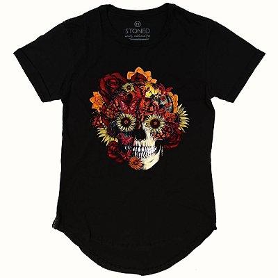 Camiseta Longline Skull Flowers