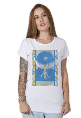 Camiseta Feminina Homem Vitruviano Collage