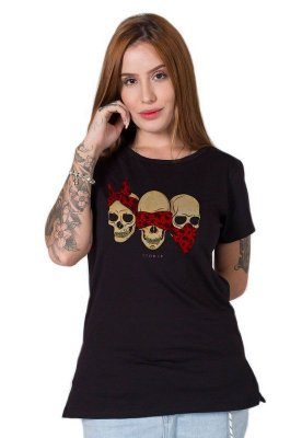 Camiseta Feminina Three Wise Skulls