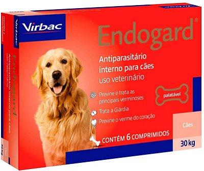 Endogard Cães 30kg 6 comprimidos Virbac Vermífugo