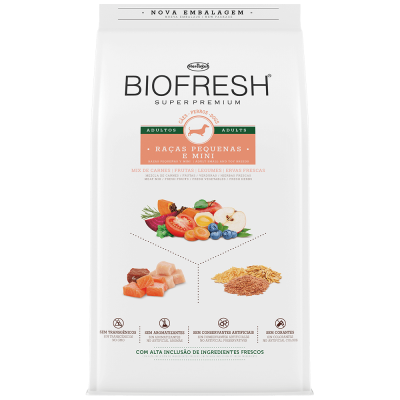 Ração Seca Super Premium para Cães Adultos Raças Pequenas Mix de Carne Biofresh 1Kg