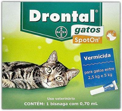 Vermífugo para Gatos Drontal Spot On 2,5kg a 5kg Bayer