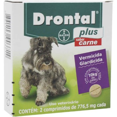 Vermífugo Drontal Plus Sabor Carne até 10kg Bayer