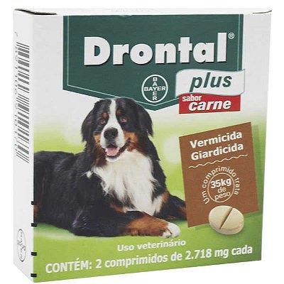 Vermífugo Drontal Plus Sabor Carne 35kg com 2 Comprimidos