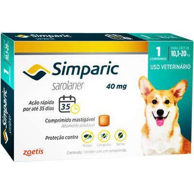 Antipulgas Cães Simparic 40mg 10,1 à 20kg Zoetis
