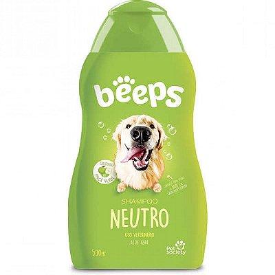 Shampoo Neutro Beeps  500ml Sem Sal Aloe e Vera p/ Cães e Gatos Pet Society