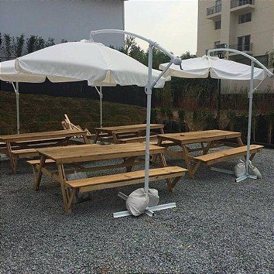 Ombrelone de lado Branco 3 metros / evento ao ar livre / pic nic - somente locação