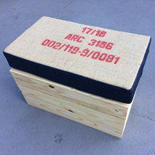 Puff individual caixote com almofada juta/jeans 60x30x40 - somente locação