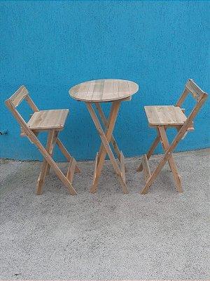 Conjunto mesa bistrô alta e 2 banquetas - venda e locação