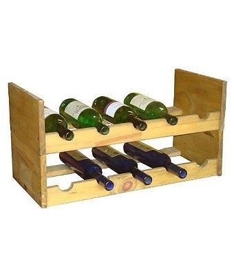 Adega 12 garrafas em pinus cru ou com verniz