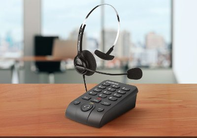 Telefone Headset Intelbras HSB40 Ajustável Atendimento Automático Telemarketing RJ9   HSB 40