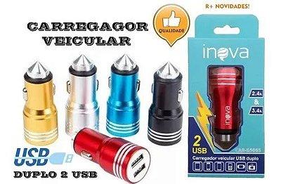 Carregador Rápido Veicular Para Celular Com Duas Usb 3.4A 2.4A Inova  Car-G5067