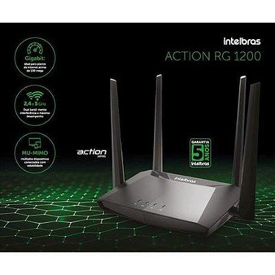 Roteador Wireless Intelbras Action RG 1200 Gigabit Dual Band 2,4GHZ 5GH AC1200 Mbps 4 Antenas 5 dBi Portas Giga