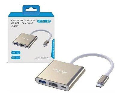 Adaptador Usb Tipo C para HDMI, 3 Portas Usb 3.0, Rede Rj45,   USB tipo C LE 5573 IT-BLUE Hub USB Tipo C