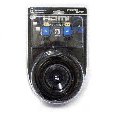 Cabo Hdmi 5 Metros 2.0 19 Pinos Ethernet 4k Ultrahd 3D PIX 0180520