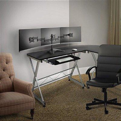 Suporte Triplo Mesa p/ 3 Monitor Gamer Altura Inclinação e giro - T1236n Elg